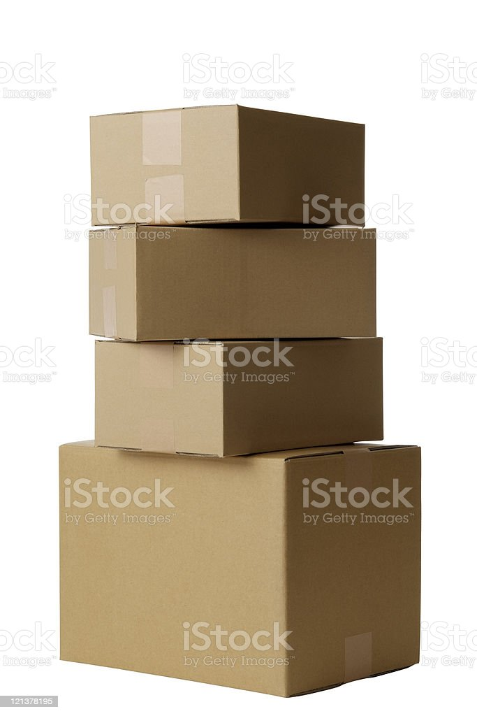 Isolated shot of stacked blank cardboard box on white background royalty-free stock photo