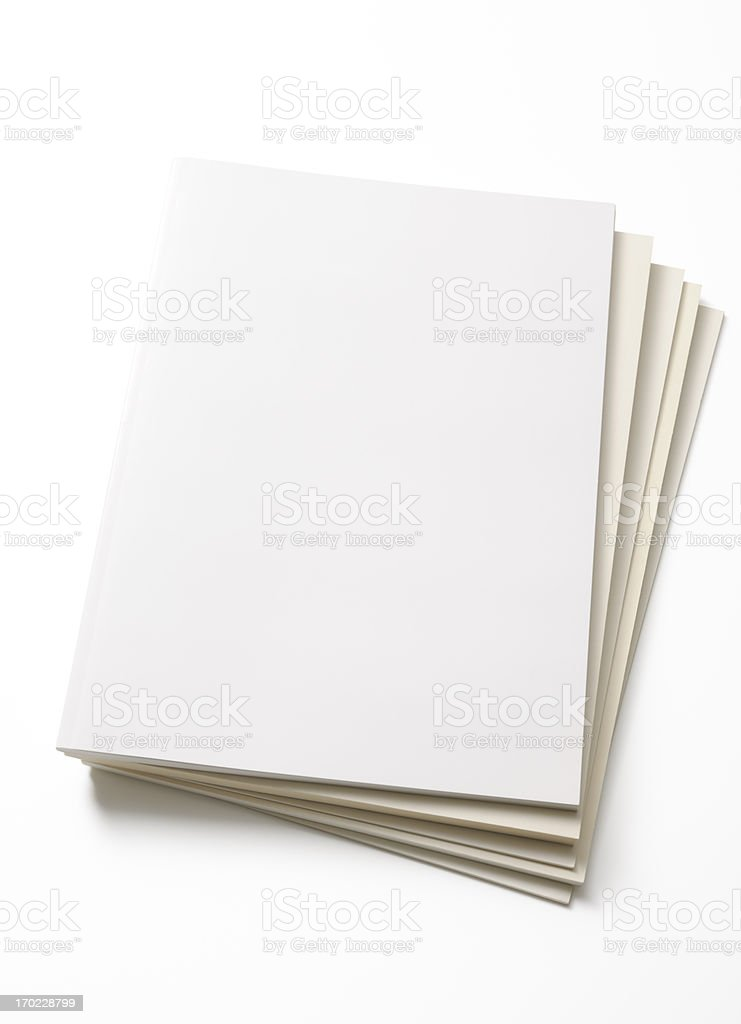 Isolated shot of stacked blank magazine on white background stock photo