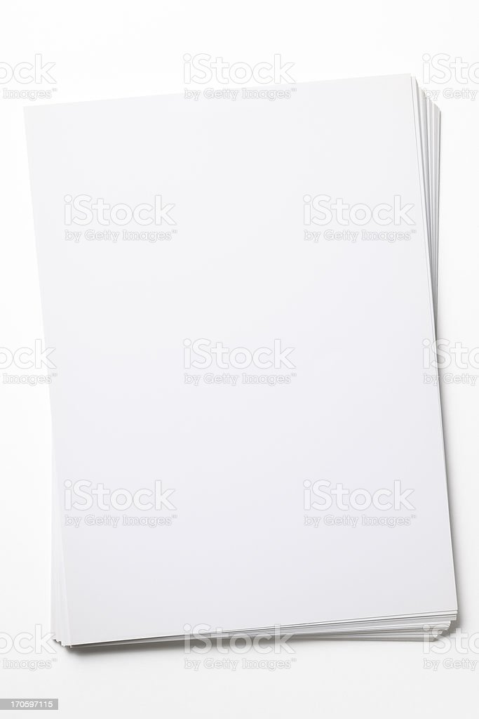 Isolated shot of stacked blank paper on white background stock photo