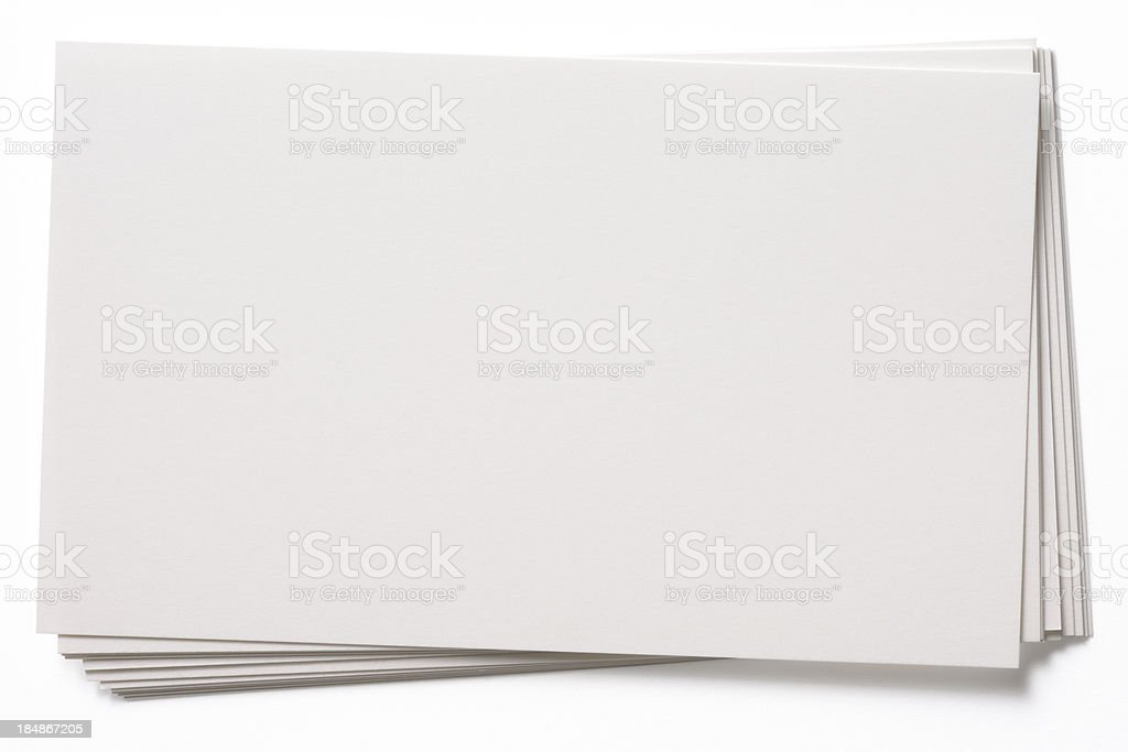 Isolated shot of stacked blank white cards on white background stock photo