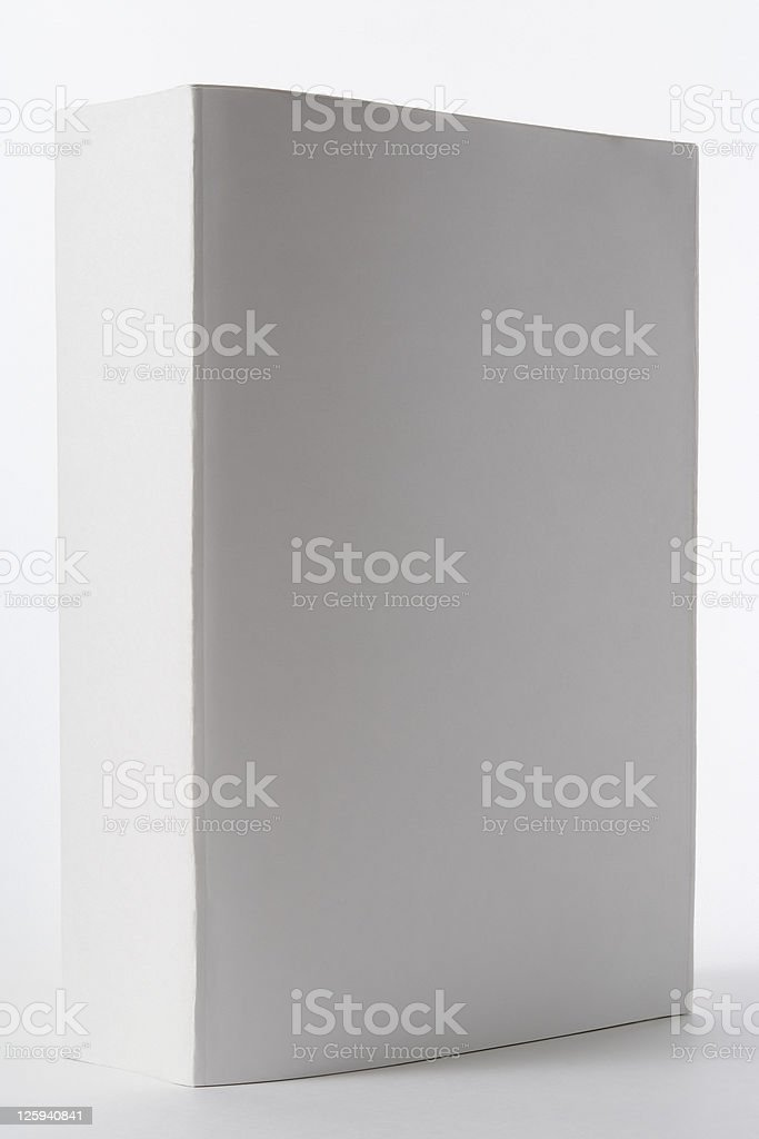 Isolated shot of standing thick blank book on white background royalty-free stock photo