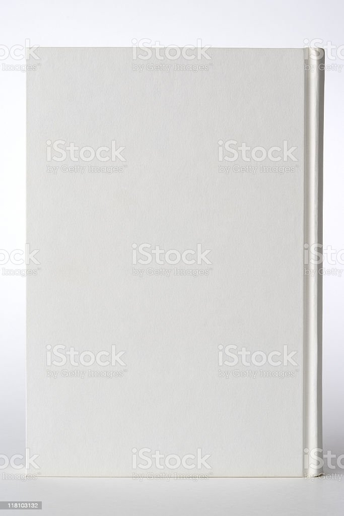 Isolated shot of standing white blank book on white background royalty-free stock photo