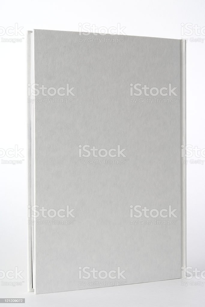 Isolated shot of standing white blank book on white background stock photo