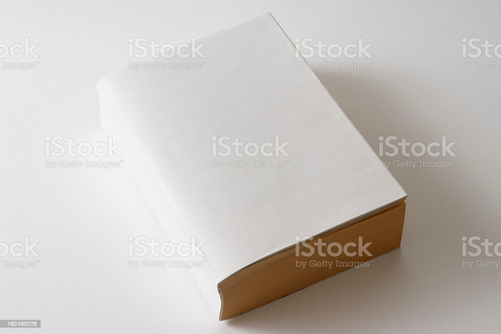 Isolated shot of thick blank book on white background stock photo