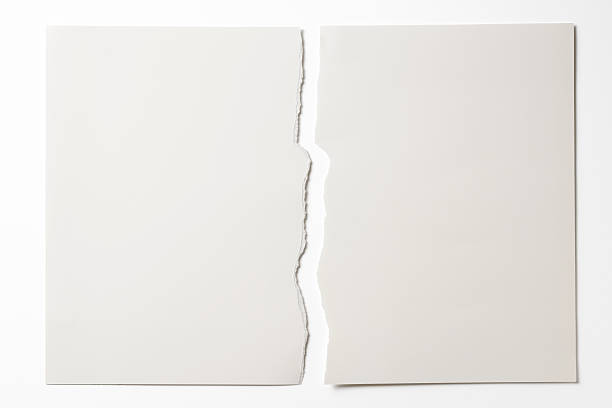 isolated shot of torn white paper on white background - rivet papper bildbanksfoton och bilder