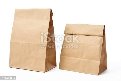 Two blank brown paper bags isolated on white background with clipping path.