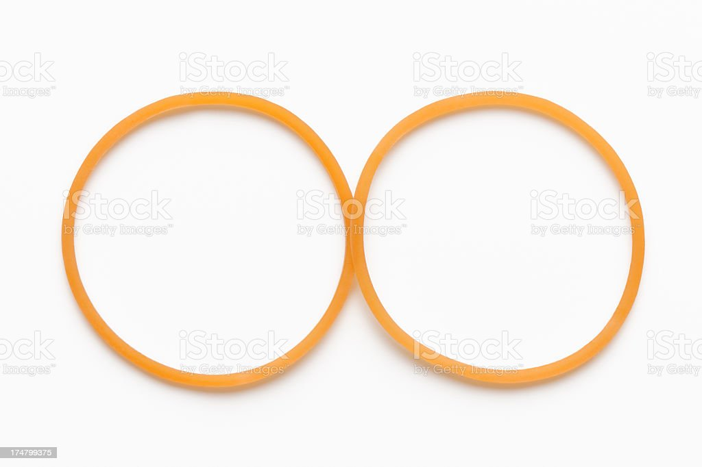 Isolated shot of two circle rubber band on white background royalty-free stock photo