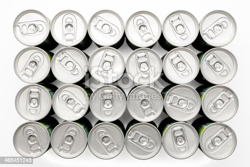 istock Isolated shot of two dozen beverage cans on white background 465451243