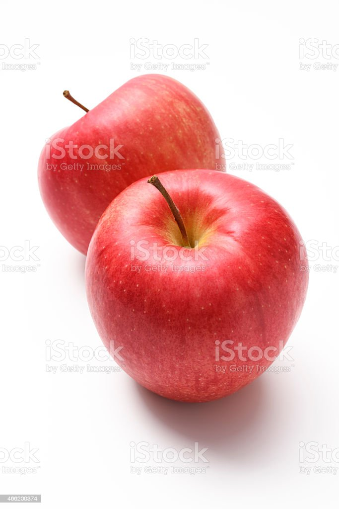 Isolated shot of two red apples on white background stock photo