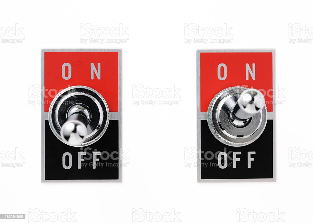 Isolated shot of two toggle switch on white background stock photo