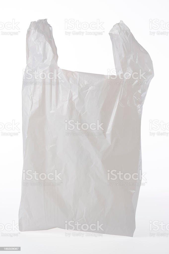 Isolated shot of used plastic bag on white background stock photo