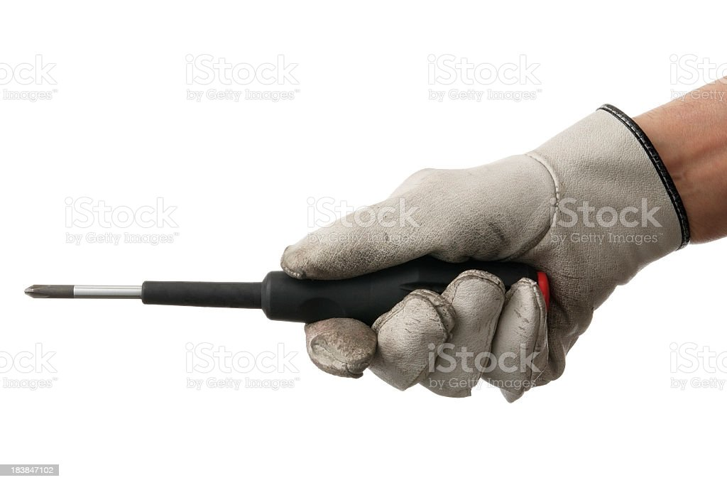 Isolated shot of using a screwdriver on white background royalty-free stock photo