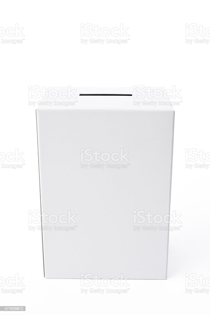 Isolated shot of white blank ballot box on white background stock photo