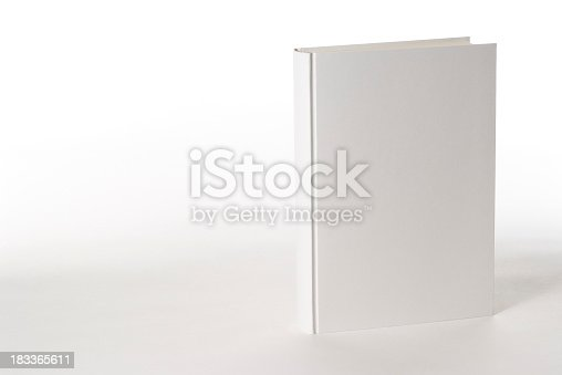 White blank book on white background with copy space.