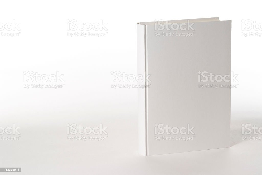 Isolated shot of white blank book on white background stock photo
