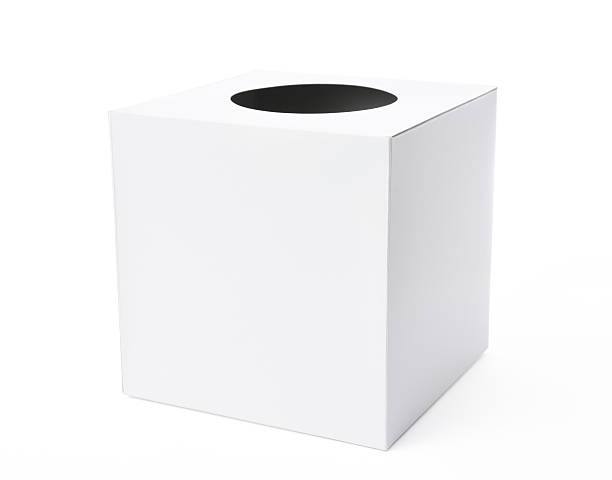 Isolated shot of white blank lottery box on white background Closed white blank lottery box isolated on white background with clipping path. game of chance stock pictures, royalty-free photos & images