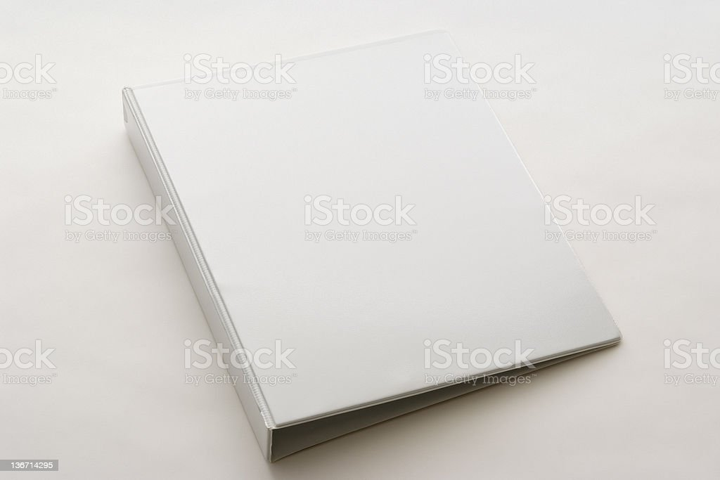 Isolated shot of white blank ring binder on white background stock photo