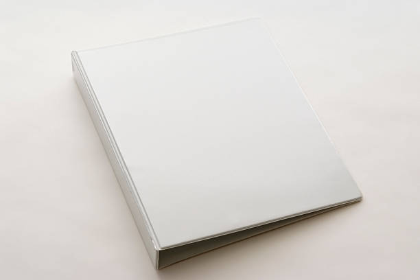 Isolated shot of white blank ring binder on white background stock photo