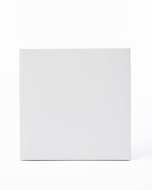 Isolated shot of white blank square box on white background stock photo