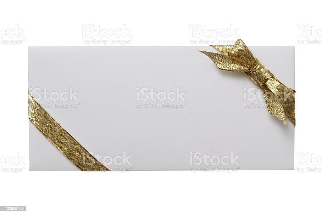 Isolated shot of white envelope with decoration on white background stock photo