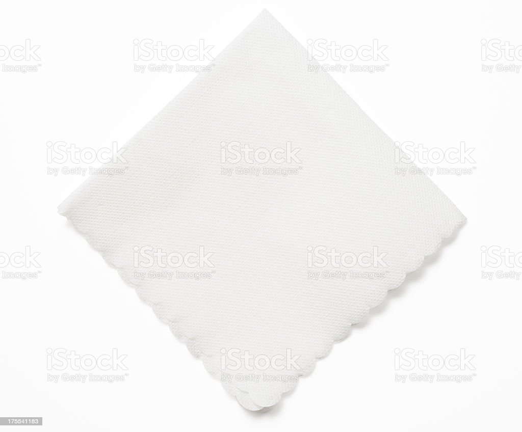Isolated shot of white paper napkin on white background stock photo