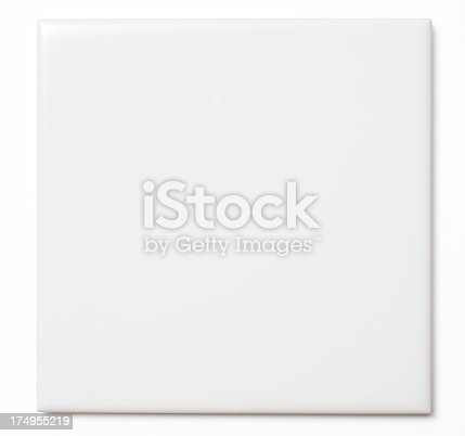 Close-up of a white tile isolated on white background with clipping path.