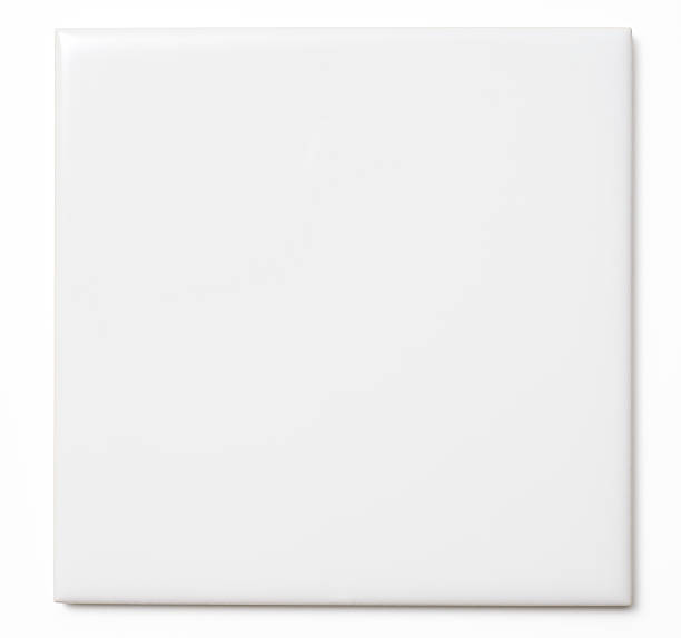 Isolated shot of white tile on white background stock photo