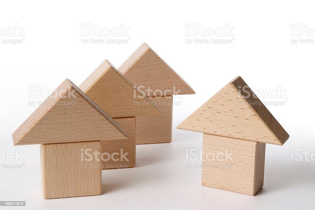 Isolated shot of wood block house on white background royalty-free stock photo