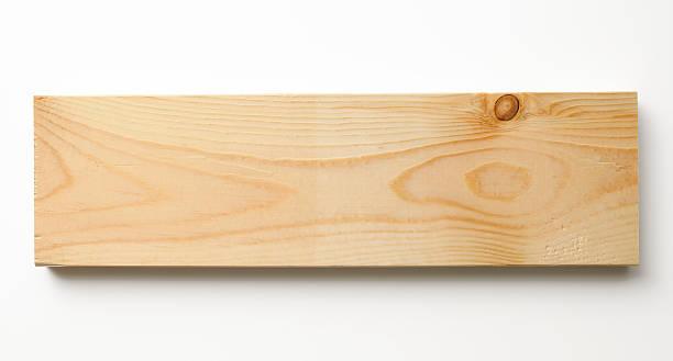 Isolated shot of wood plank on white background stock photo