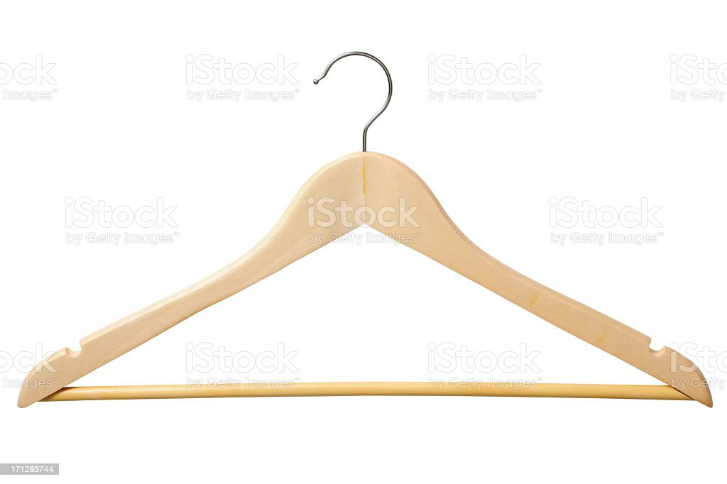 Isolated shot of wooden coat hanger on white background stock photo