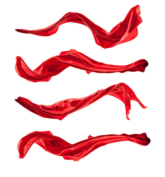 isolated shots of red satin, isolated on white background - flowing water stock photos and pictures