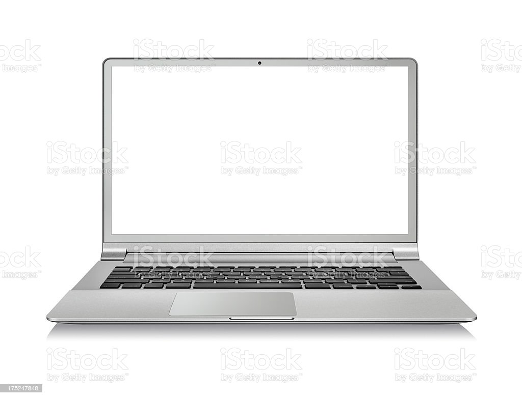 Isolated silver laptop with blank screen on white stock photo
