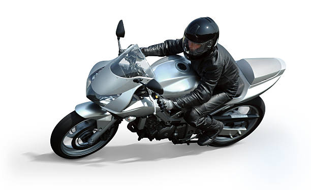 isolated silver motorcycle - motorbike racing stock photos and pictures
