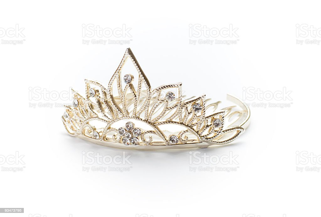 Isolated silver tiara, crown or diadem stock photo