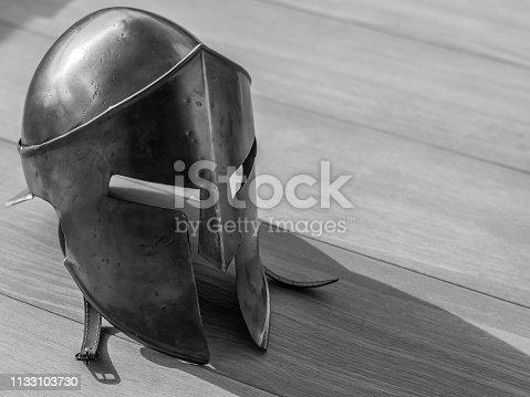 istock Isolated single close up Spartan Warrior metal helmet 300 1133103730
