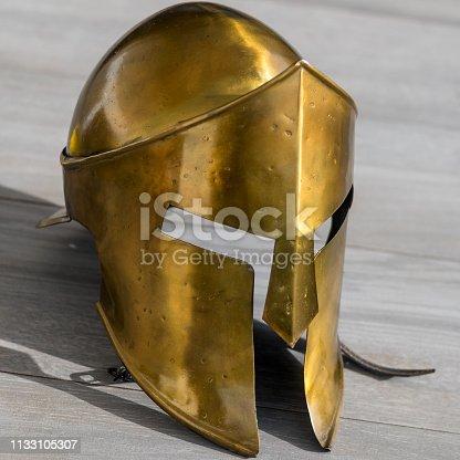istock Isolated single close up Spartan Warrior metal helmet 300 1133105307