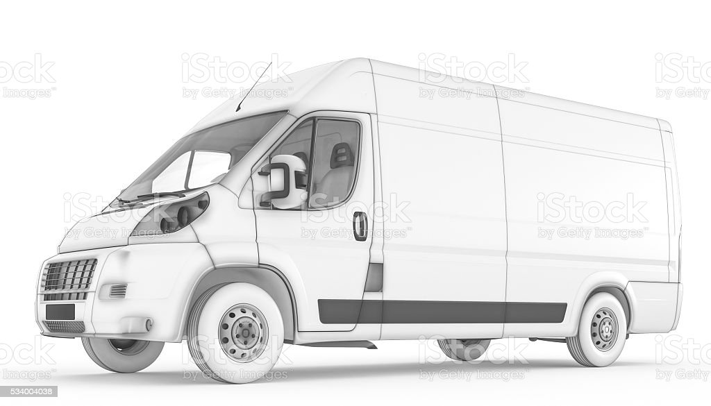 Isolated sketch white van with white background stock photo