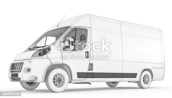 Isolated Sketch White Van With Background Stock Photo