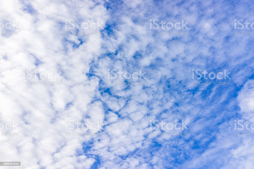 Isolated sky cloudscape with scale like fluffy shapes and vibrant blue color stock photo
