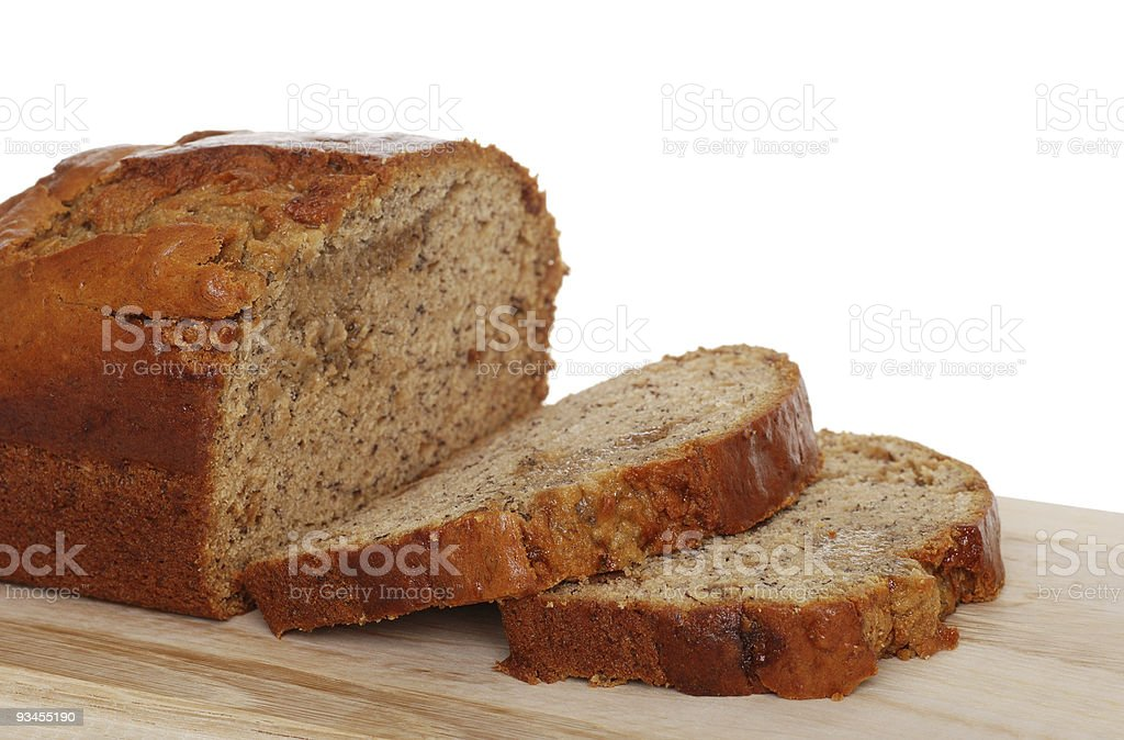 Isolated sliced banana bread stock photo