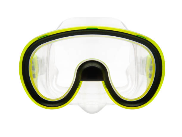 Isolated snorkeling or diving mask Isolated objects: yellow silicone snorkeling or diving mask on white background swimming goggles stock pictures, royalty-free photos & images
