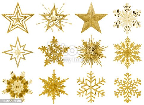 Golden Snowflakes and Stars Isolated on White
