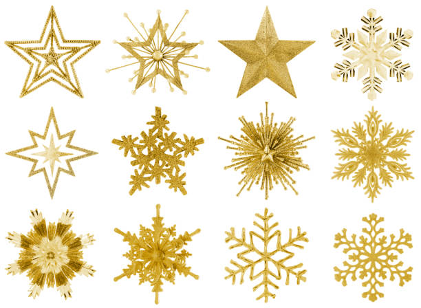 isolerade snöflinga och star collection - christmas decoration golden star bildbanksfoton och bilder