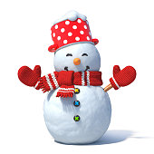 Isolated snowman 3d rendering
