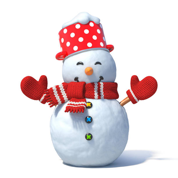 Isolated snowman 3d rendering stock photo