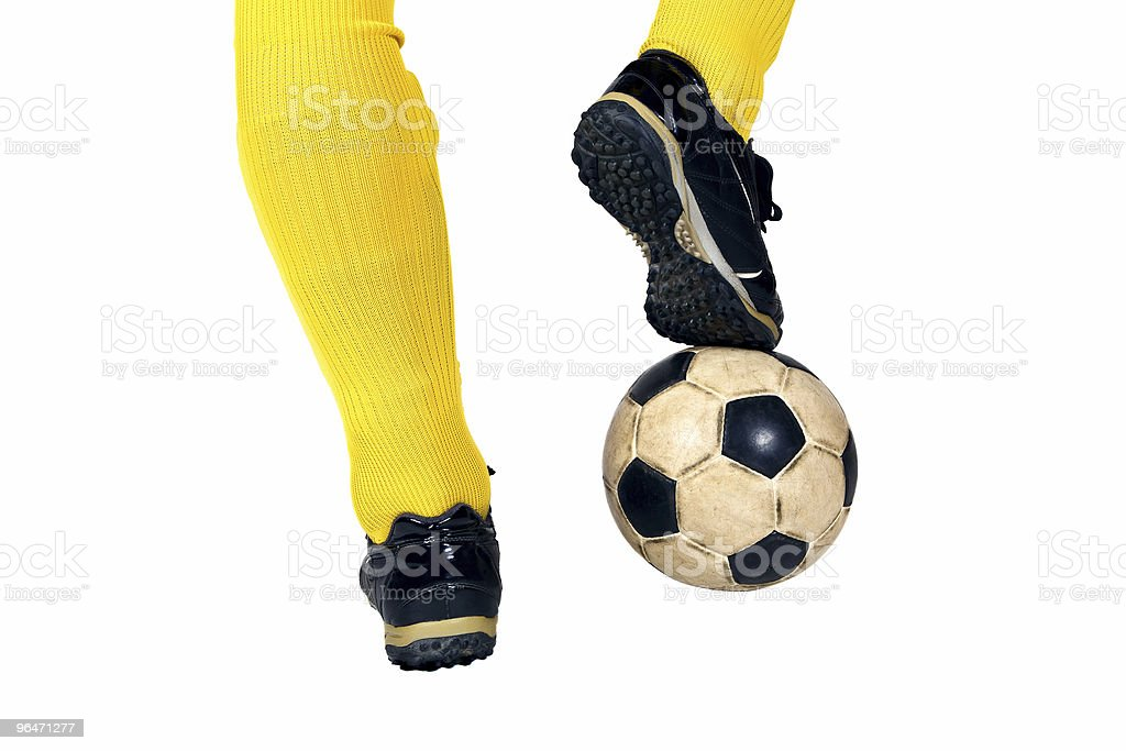 Isolated soccer ball and shoes of player 3 royalty-free stock photo