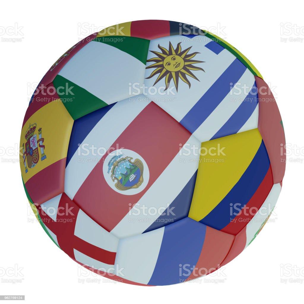 Balón de fútbol aislado con banderas de colores de los Estados que participan en el 2018 en un fondo blanco, render 3d. - foto de stock