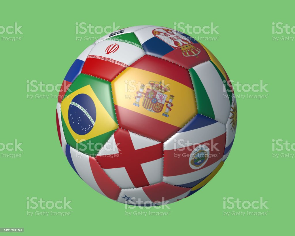 Isolated soccer ball with colors flags of states participating in the 2018 FIFA World Cup on a green background, 3d rendering. стоковое фото
