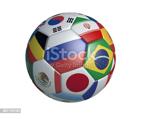 istock JANUARY 19, 2018: Isolated soccer ball with colors flags of states participating in the 2018 World Cup on a white background, 3d rendering. 962759180