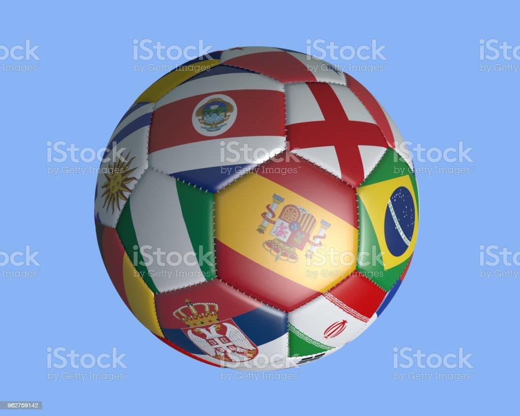 19 de enero de 2018: Aislado balón con banderas de colores de los Estados que participan en un fondo azul, render 3d. - foto de stock